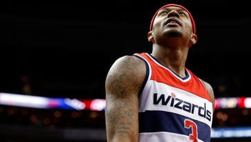 Bradley Beal looks up at the scoreboard against the Brooklyn Nets in the third quarter at Verizon Center.