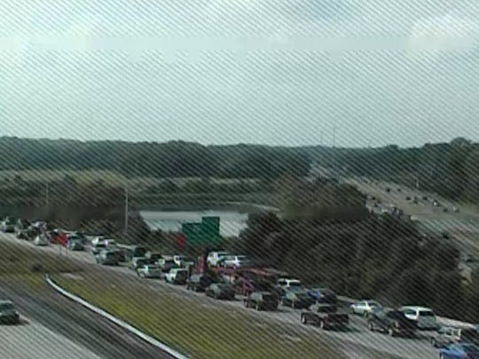 Traffic cams show traffic backed up after an accident south of Townsend on Del. 1 that closed the north bound lanes, and the southbound left lane.