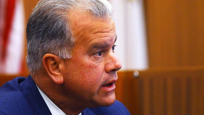 House Speaker Nicholas Mattiello testifies on Thursday, the fourth day of the trial of his former campaign consultant Jeffrey Britt.