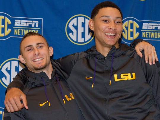 LSU players Keith Hornsby and Ben Simmons pose for