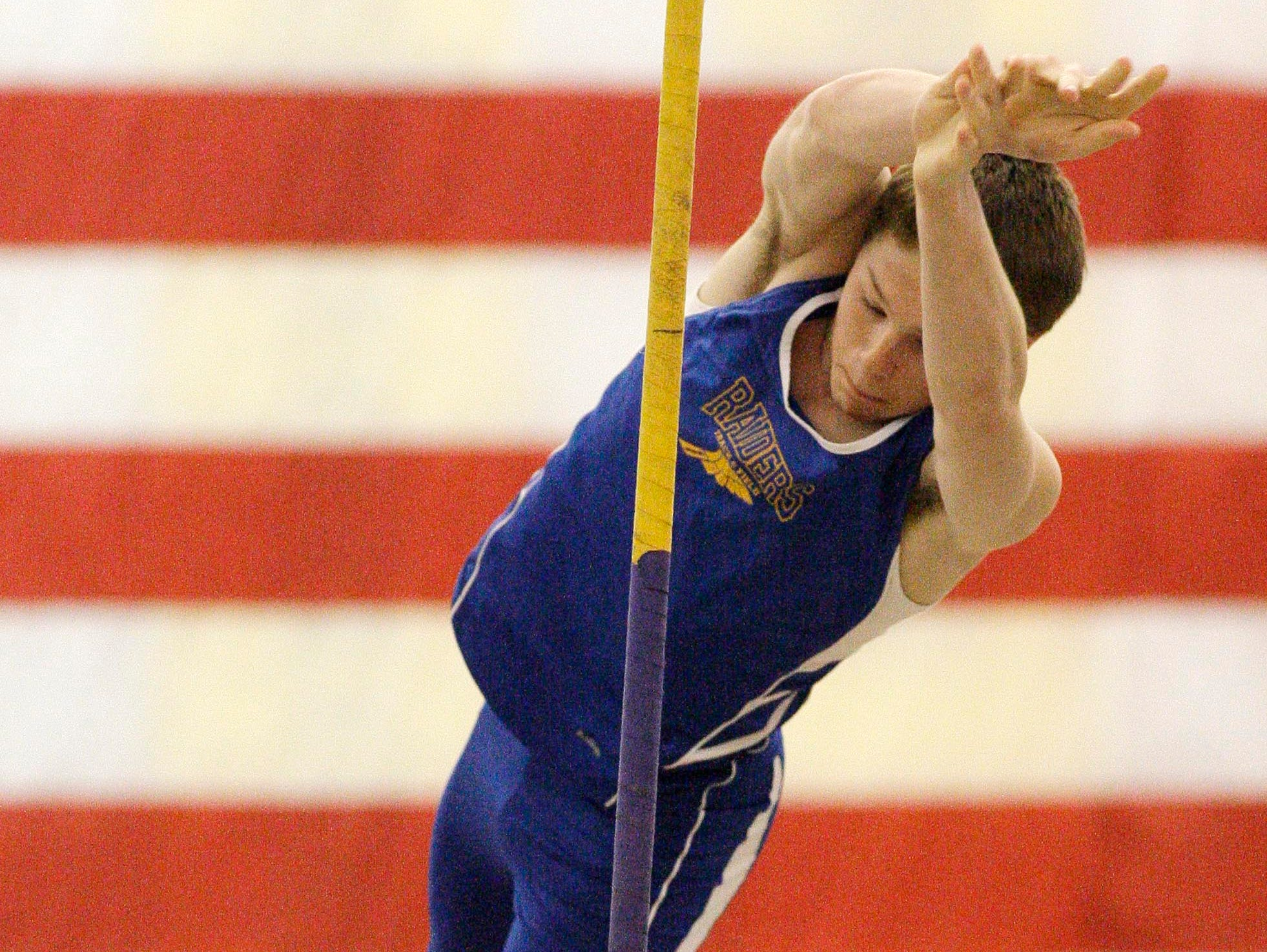 Sheboygan North's Hayden Hermann during his pole vault attempt at the FRCC East Division meet at North.