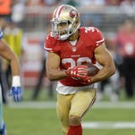 San Francisco 49ers running back Jarryd Hayne (38) against the Dallas Cowboys during the second half of an NFL preseason football game in Santa Clara, Calif., Sunday, Aug. 23, 2015.