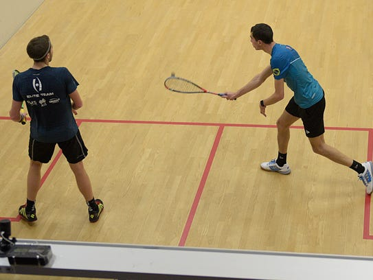 In an overview of the BAC's center court, Ali Farag