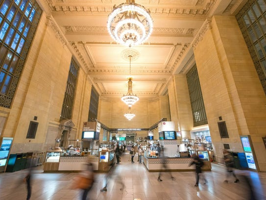 During the holidays, Grand Central Terminal's Vanderbilt Hall turns into a shopping boutique.