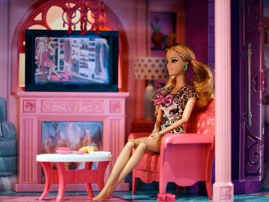 A close-up view of a Barbie Dream House pictured at