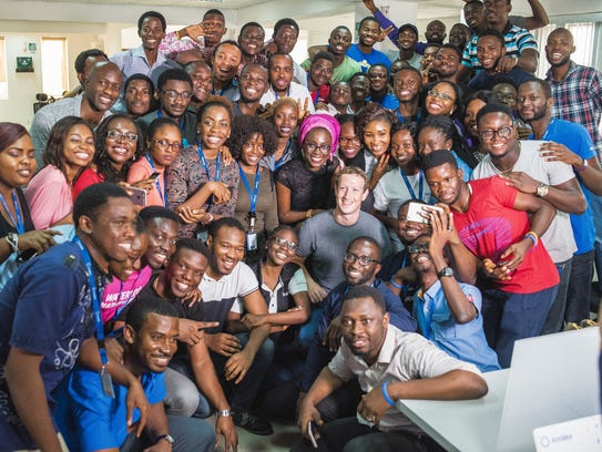 Mark Zuckerberg with the Andela team in Lagos.