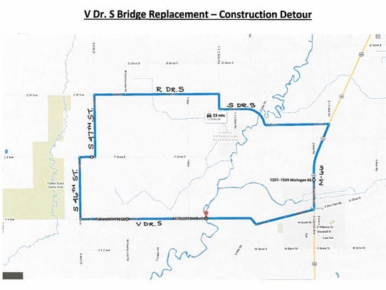 A detour map for bridge replacement work at V Drive