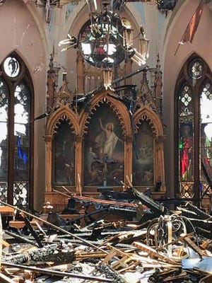 Trinity Evangelical Lutheran Church posted this photo showing the interior of the church in the aftermath of Tuesday's fire.