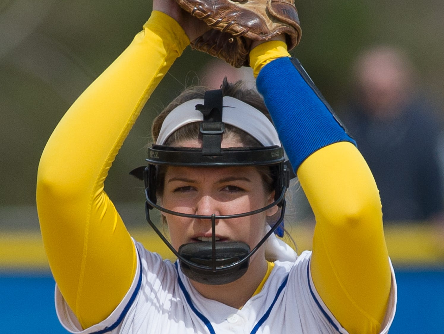 Caesar Rodney's pitcher Alyssa Ball (9) prepares to pitch in their game against Concord.