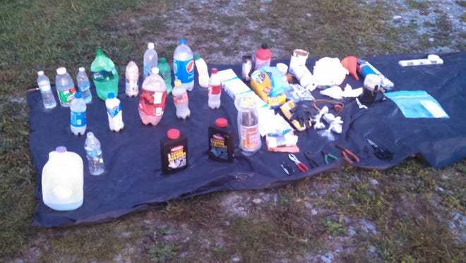 Meth bottles confiscated during a meth lab bust in Dickson Friday morning.