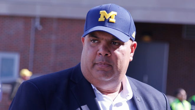 Michigan athletic director Warde Manuel arrives for the spring football game April 1, 2016, at Michigan Stadium in Ann Arbor.