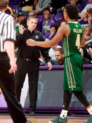 CSU's Larry Eustachy coaches from the sideline during the first half of the Rams' win at Northern Iowa. Since the opening game, CSU has had an up-and-down season.