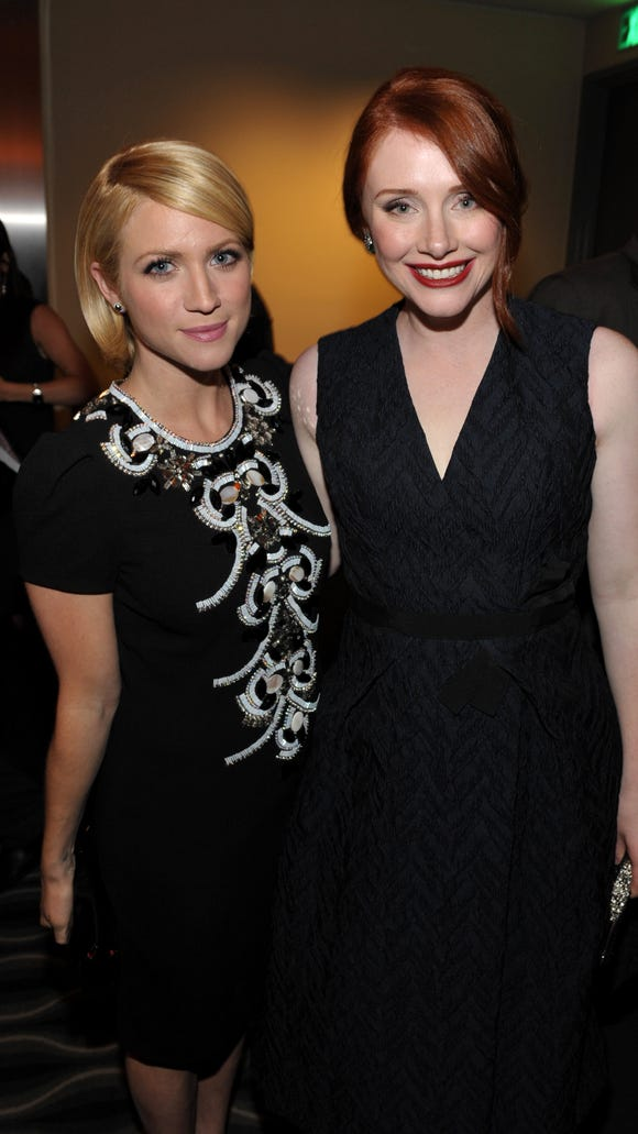 """Actress Brittany Snow, left, and director/actress Bryce Dallas Howard  attend Lifetime and Sony Pictures Television's premiere event  for """"Call Me Crazy: A Five Film"""" at the Pacific Design Center on Tuesday, April 16, 2013, in West Hollywood, Calif."""