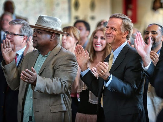 Tennessee Gov Bill Haslam (second from right) enjoys the performances during the Memphis Music Hall of Fame induction announcements at Clayborn Temple Tuesday afternoon. Haslam announced that tourists spent a record$19.3 billion inTennessee in 2016, including $3.3 billion inMemphis and Shelby County during remarksat the event.