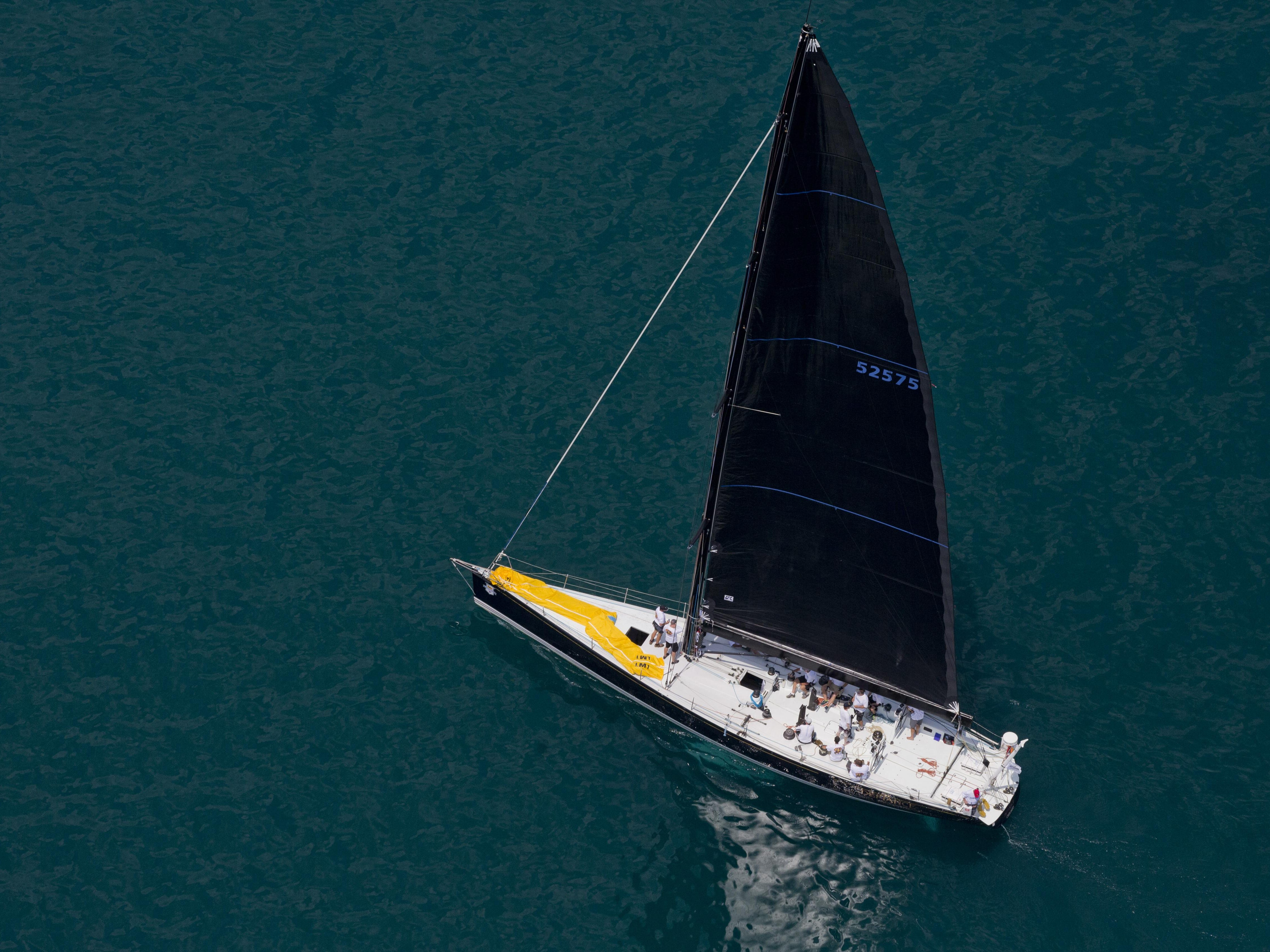 Defiance, of Chicago Yacht Club, competes in Class A during the start of the Port Huron-to-Mackinac Island sailboat race Saturday on Lake Huron.
