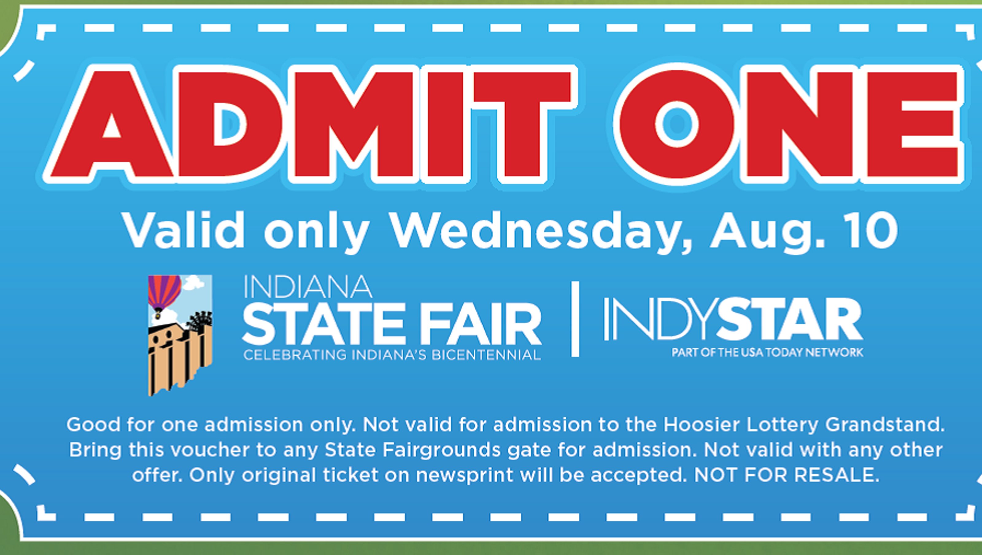 Free State Fair Ticket In The Newspaper Today