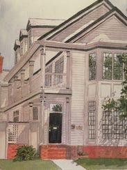 A Downtown house watercolor portrait by Karen Pence.
