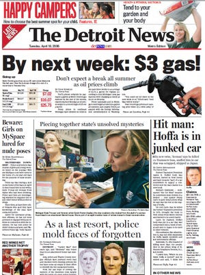 The front page of The Detroit News on April 18, 2006.