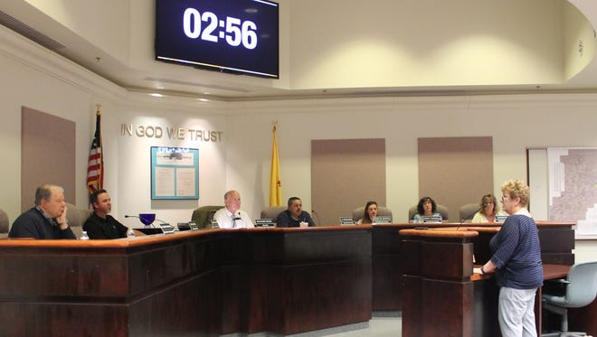 Melody Rayhart speaks to the City Commission during the special meeting held Tuesday night.