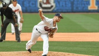 Auburn sophomore RHP Davis Daniel pitches vs Kentucky during the SEC Baseball Tournament on Tuesday, May 22, 2018, in Hoover, Ala.
