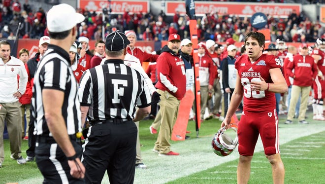Indiana kicker Griffin Oakes after his 38-yard field goal attempt to tie the Pinstripe Bowl in overtime was ruled no good.