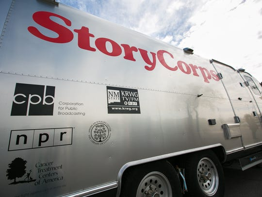 Pictured is the StoryCorps MobileBooth parked in front
