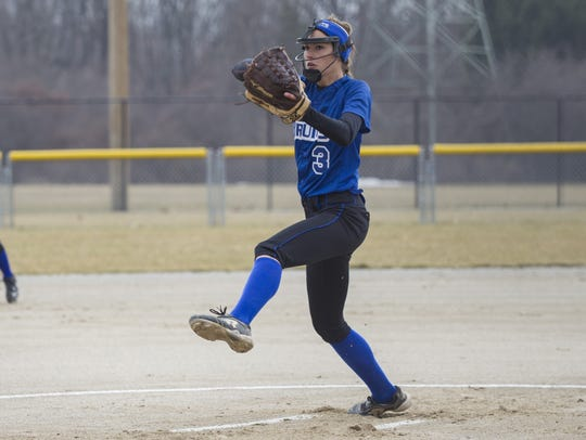 Kellogg Community College sophomore pitcher Holly VanTilburg.