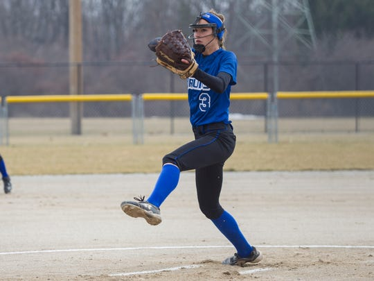 Holly VanTilburg of Kellogg Community College is among the NJCAA Division II leaders in strikeouts (213) and ERA (1.03).
