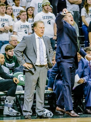 Tom Izzo, left, has coached Michigan State to 19 straight NCAA tournaments. Getting to a 20th isn't a given.