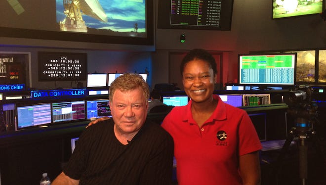 Tracy Drain (right) and William Shatner in the Space Flight Operations Facility at NASA's Jet Propulsion Laboratory in Pasadena, Calif