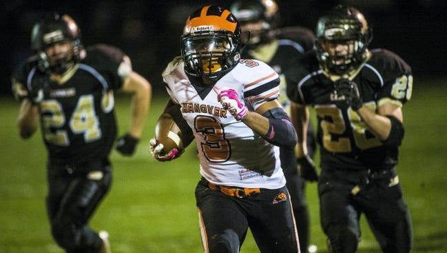 Hanover's Resean Williams runs for a touchdown against Biglerville two weeks ago at Biglerville High School. Biglerville won, 42-21.