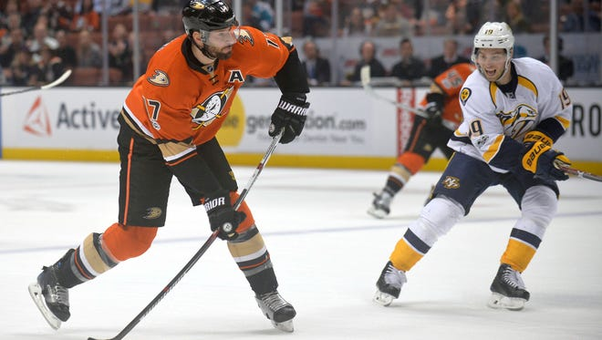 Ducks center Ryan Kesler had 11 points in six playoff games with the Canucks against the Predators in 2011.