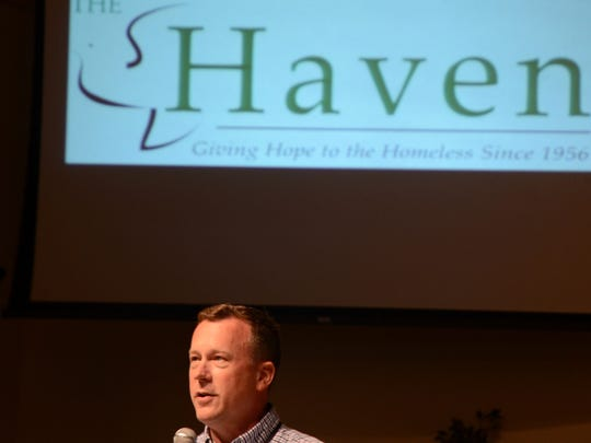 Daniel Jones, fund development coordinator for The Haven, discusses how it helps ex-felons with life skills during a meeting Thursday at First Congregational Church in Battle Creek. Jones is replacing retiring executive director, Elaine Hunsicker.