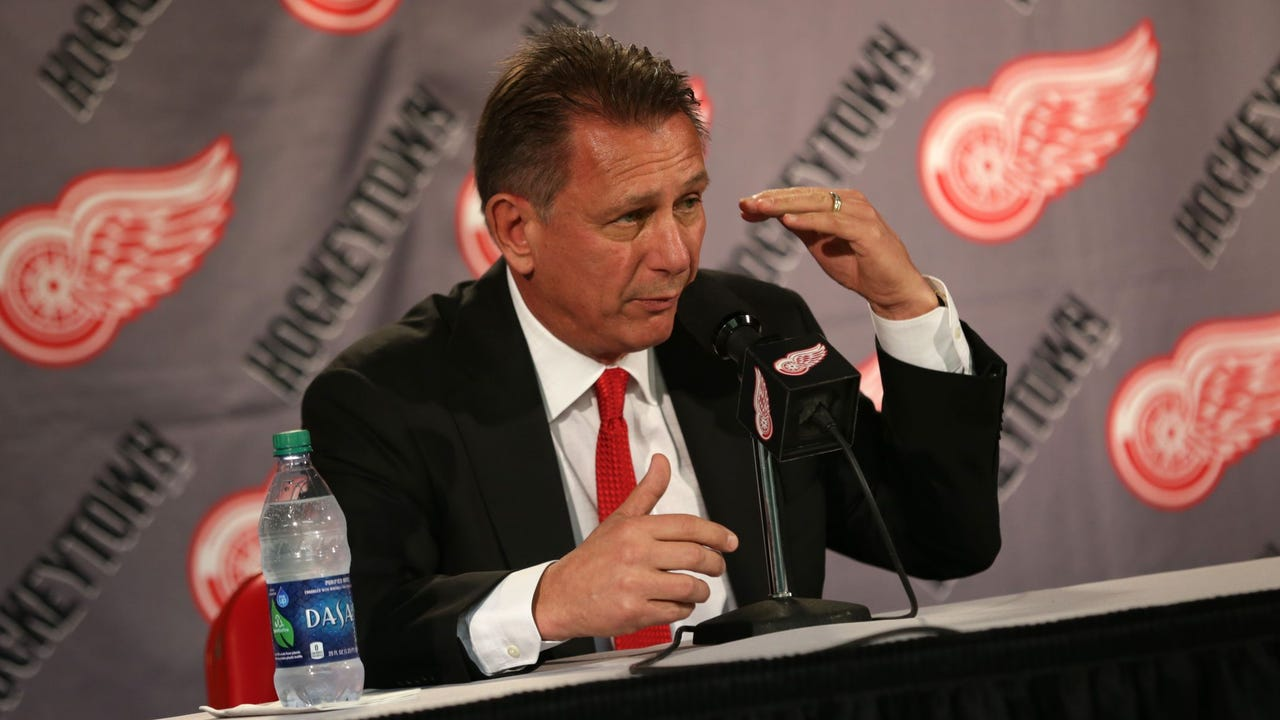 Red Wings general manager Ken Holland has a press conference after agreeing to a one-year, $1.38 million deal with Andreas Athanasiou on Friday, Oct. 20, 2017.