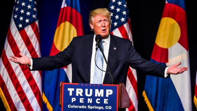 Republican presidential candidate Donald J. Trump speaks Friday, July 29, 2016, in Colorado Springs.