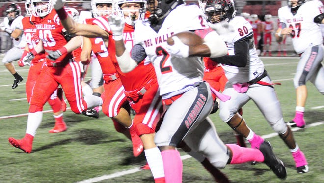 Del Valle running back Tavierre Dunlap, a Michigan pledge, has topped 100 yards rushing in each of his two previous games against Lake Travis. Dunlap has suffered some injuries this season and did not play against San Marcos last week, but he may suit up Friday against the Cavs.