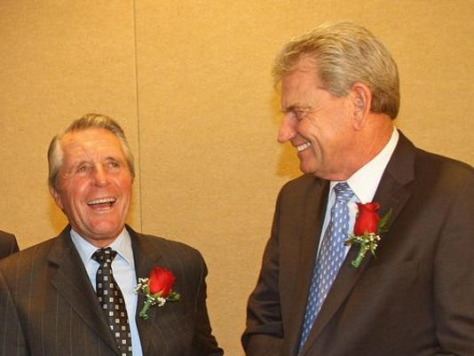 From left, Gary Player and Nick Price have some fun before the start of the Metropolitan Golf Writers Association national awards dinner at the Marriott in Elmsford June 9, 2015. Both golfers were award winners at the dinner.(Photo: Frank Becerra Jr./The Journal News)