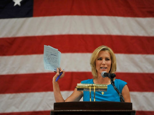Laura Ingraham speaks during a rally Tuesday for Joe Carr at Millennium Maxwell House Hotel in Nashville.