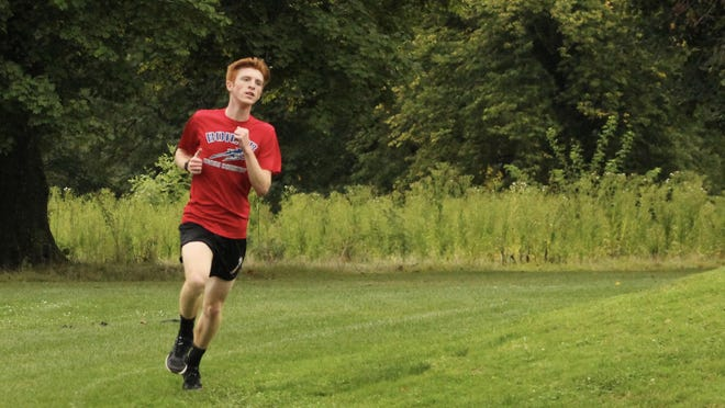 Kewanee's Colin VanStechelman, in a file photo, makes the turn for the home stretch on Friday as the boys winner in the Patriot Day cross country meet at Baker Park. Vanstechelman was second