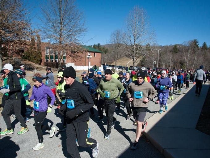 Scenes of over the 500 runners of all ages who made