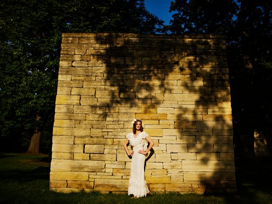 Abby Wolner, 25, models a Dame & Maiden dress by Sarah