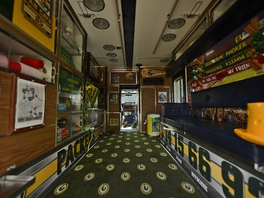 The Lambulance, a 1989 ambulance converted into a Packers-themed