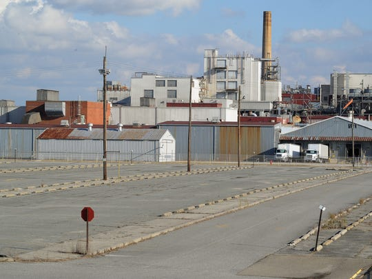 View of the Invista plant parking lot in Seaford.