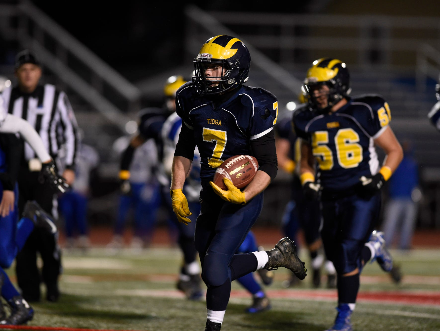 Tioga scored early and often against Sandy Creek in their Class D state playoff quarterfinal matchup at Binghamton Alumni Stadium on Friday .