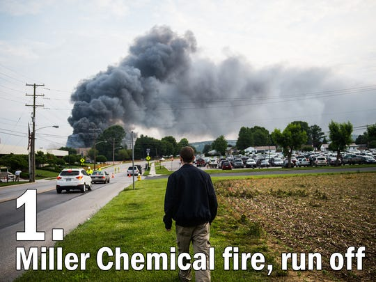Smoke billows from Miller Chemical in this June 8, 2015 photo. The chemical fire caused massive structure and environmental damage, including the death of over 10,000 fish in the Conewago Creek.
