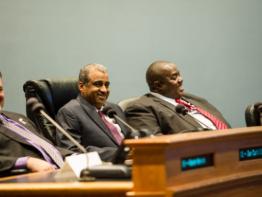 Councilmen Jay Castille, left, Pat Lewis and Kenneth Boudreaux are seen in this 2016 file photo.