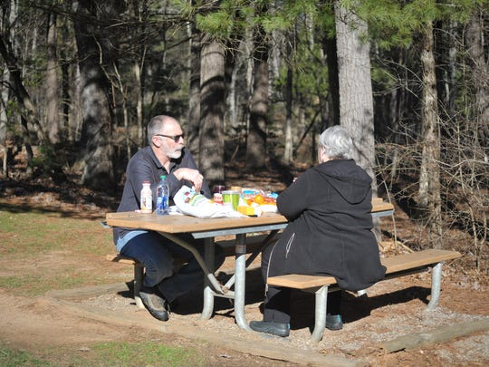 Bill and Brenda Palin of Williamston,VT enjoy a picnic on the Blue Ridge Parkway.
