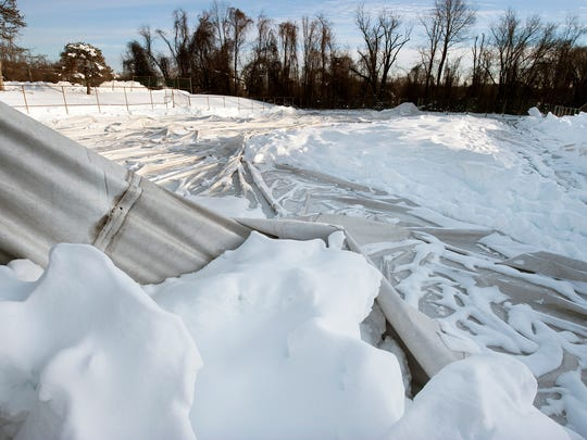 Wisehaven general manager Phil Myers said the air-supported covers that normally stand 30 feet above the center's tennis courts were not damaged when they were deflated during Saturday's storm.