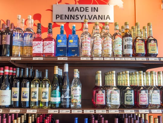 A selection of wines and liquors made in Pennsylvania