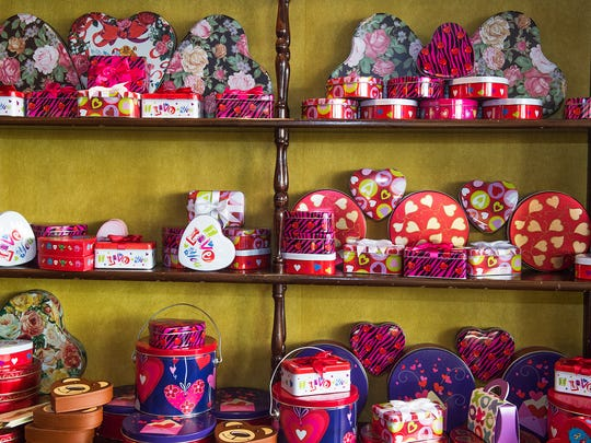 Tins and boxes are ready for Valentine's Day at Olympia Candy Kitchen in Chambersburg.